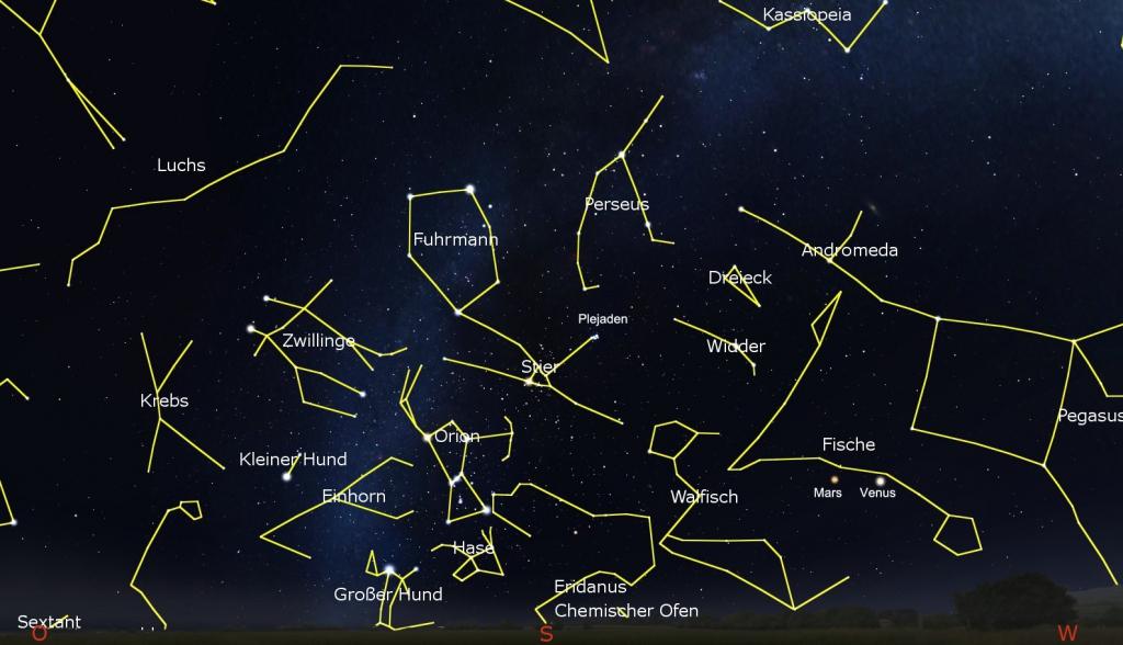Die Sternkarte zeigt den Februarhimmel gegen 19:00 Uhr. Karte: www.stellarium.org