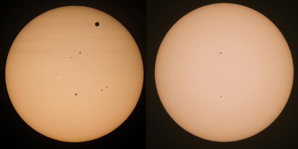 Größenverleich Venus Merkur