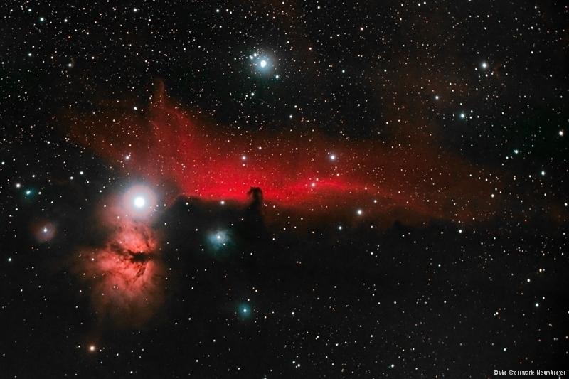 Der zauberhafte Pferdekopfnebel kann auch über der Pferdestadt Neumünster fotografiert werden. Dieses Bild gelang Andreas Rex und Marco Ludwig an der vhs-Sternwarte Neumünster.